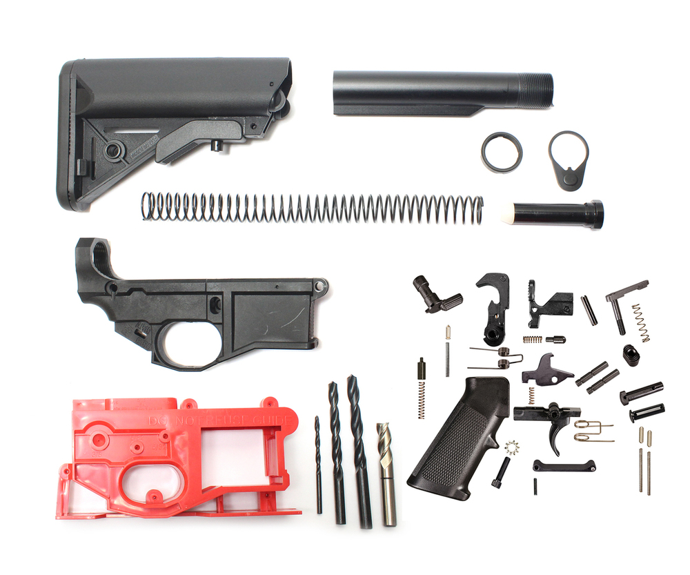 AR-15 Poly 80% Lower Receiver Complete Kit Including Sopmod Stock